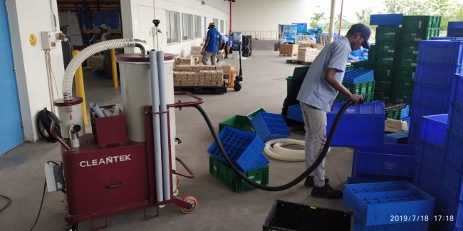 Plastic Crate and Parts Cleaned by Cleantek Industrial Vacuum Cleaners